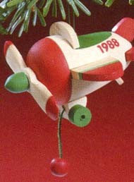 1988 Wood Childhood Toys 5th Airplane Hallmark Keepsake Ornament 750QX4041