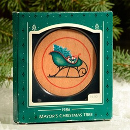 1986 Mayor's Christmas Tree Sled Hallmark Keepsake Ornament MO1986
