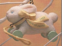 1993 Baby's First Easter Bunny Pull Toy Spring/Easter Hallmark Ornament at Ornament Mall