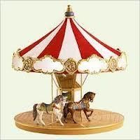2004 Carousel Display with 2 Horses with Insert Hallmark Keepsake Ornament QX8481