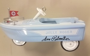 1999 Kiddie Car Classic 6th-1968 Jolly Roger Flagship Boat *COLORWAY Rare *Signed Hallmark Keepsake Ornament 1395QX627-9-2