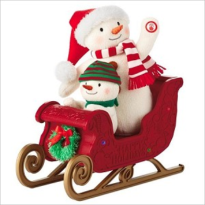 2016 Twinkling Sleigh Ride Plush Snowmen #13 Hallmark Keepsake Ornament LPR1133