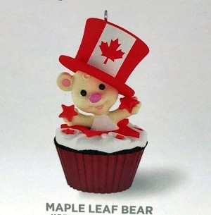 2016 Keepsake Cupcakes Monthly Series 12th and Final Maple Leaf Bear *Canada Hallmark Keepsake Ornament QHA1047-2