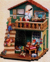 2005 Merry Mayhem Workshop w/ 6 Miniatures *Club Event Display Hallmark Keepsake Ornament QXC5013