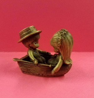Little Gallery Pewter Figurine Joan Walsh Boy and Girl in Rowboat (NB)
