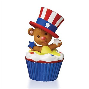 2016 Keepsake Cupcakes Monthly Series 12th and Final Star Spangled Bear Hallmark Keepsake Ornament QHA1047