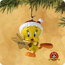 2002 Looney Tunes Up to the Tweetop Tweety *Miniature Hallmark Keepsake Ornament 595QXM439-6