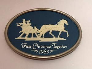 1983 First Christmas Together Cameo Sleigh Hallmark Keepsake Ornament 750QX3017
