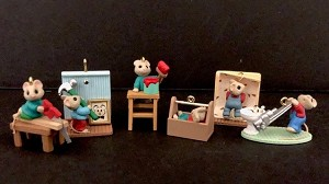 1997 Tiny Home Improvers Set of 6 Mice *Miniature Hallmark Keepsake Ornament 2900QXM428-2