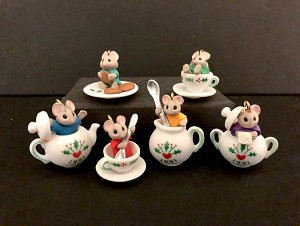 1991 Tiny Tea Party Mice set/6 Porcelain  *Miniature  Hallmark Keepsake Ornament 2900QXM582-7